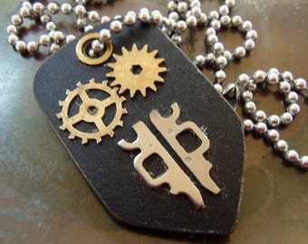 Black Steel Pendant with Brass Clock Gears. Reversible. Salvaged Computer Circuit Board on Reverse side. FREE SHIP in U.S.!