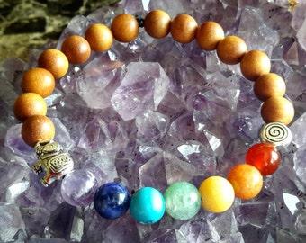 7 Chakras Mala Bracelet - Sandalwood & Gemstone Jewelry