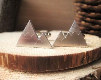 Snowy Mountain Alps Twin Peaks Aluminium Cufflinks