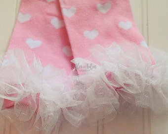 Valentine Sale- Hearts Hearts Hearts Leg Warmers with Pink and white with vintage ruffle!