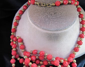 Vintage Very Long Red Carved Rose Beaded Necklace