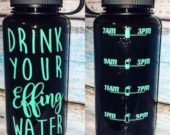34 oz. Custom Inspirational Water Bottle with tracker