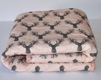 Antlers in Shell Quilt, baby quilt, woodland nursery, deer, fawn, baby girl, coral, blanket, crib bedding