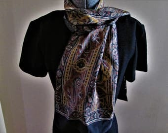 Vintage Long Black & Browns Paisley Polyester Scarf!