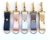Handmade Leather Keychain, Metallic Leather Key Fob, Custom Key Chain, Purse Clip Keychain, Leather Keyring, Keychains for Women