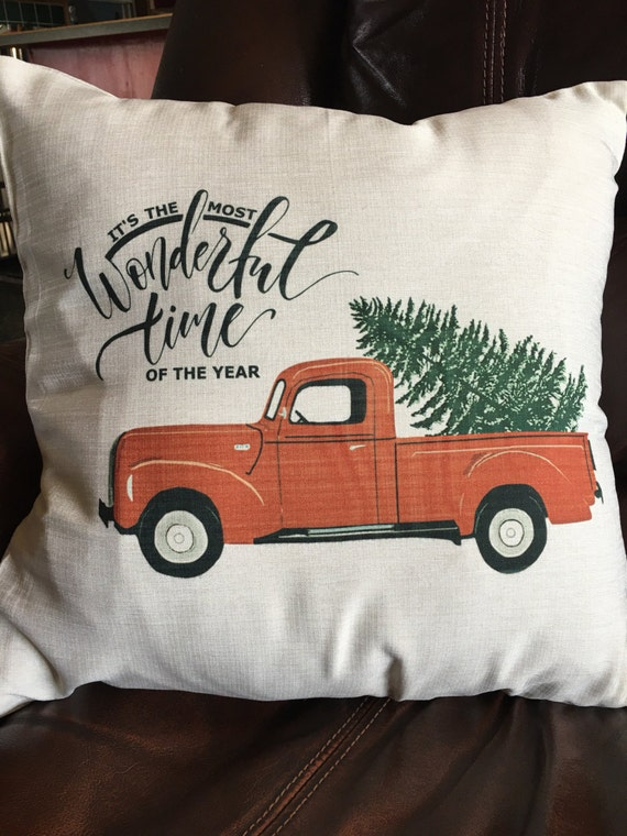 Christmas Pillow Cover Red Truck and Christmas Tree Pillow
