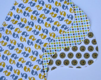 Baby Burp Cloth / Elephant / Contoured Burp Cloths / Set of 3 Burp Cloths  / Baby Shower / Baby Gift / Yellow/ Gender Neutral/ Flannel