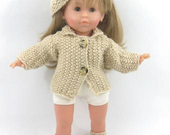 Doll clothes - jacket, hat and shoes beige