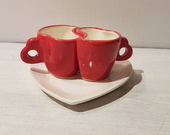 Couple/heart shaped coffee cups SET-Red