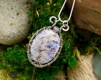 Rainbow Moonstone Tree of Life Pendant // Sterling Silver Wire Wrapped Tree of Life Necklace Jewelry Witchy Pagan Magical Gypsy Boho Style