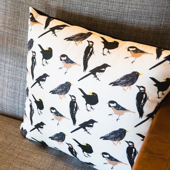 British woodland bird cushion bird design animal print for British homeware designers