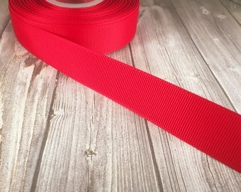 "Solid red Grosgrain - 7/8"" Grosgrain ribbon - 5 yards - craft ribbon - DIY hair bow - DIY headband - Wedding ribbon - Red wedding"