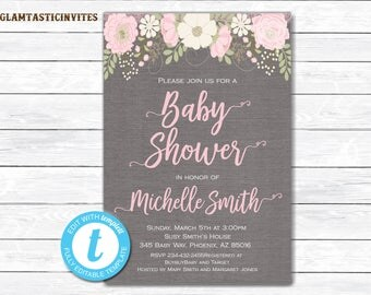 Baby shower Invitation, Floral Baby Shower Invitation, Vintage Baby shower Invitation, Watercolor, Baby Shower Invite, Instant Download