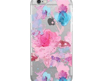 Abstract Pink Watercolor Splash iPhone 7 and iPhone 8 Transparent Clear Phone Case with 3D UV Printed Design