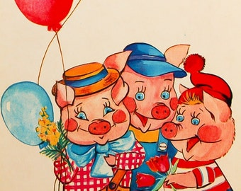 Three Little Pigs Postcard Vintage Russian Birthday Postcard Soviet Fairy Tale Card Russian Folk Card Published in USSR Collectible Postcard