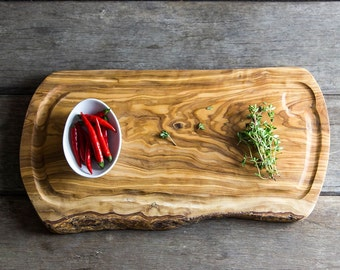 Rustic Olive Wood Serving/Carving Board With Jus Groove - Length 40cm (CPN40JG)