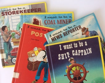 set of 5 vintage books | vintage books, kids books, children's books, vintage book, book sets, carla greene, vintage kids books, learning