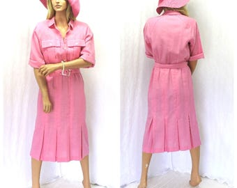 Vintage 70s pink secretary dress M California Girl USA long pink pleated shirt dress 7 / 8 retro mod career dress SunnyBohoVintage