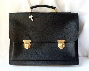 Black vintage leather satchel new with keys / towel / bag / student bag / work / teacher / gift man / woman gift / school