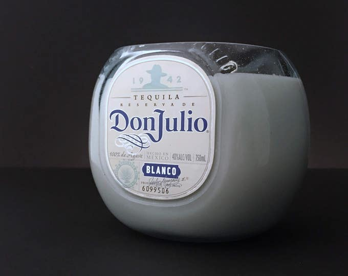 Recycled Don Julio Blanco Tequila Bottle Candle