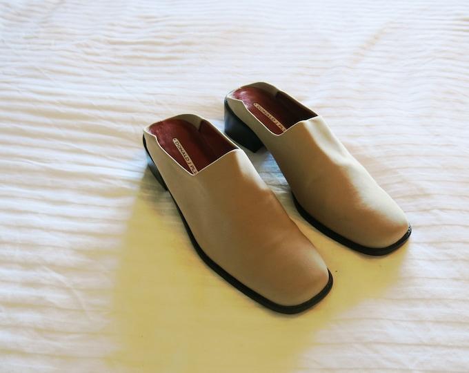 Size 8 Donald J Pliner Square Toe Beige Mules