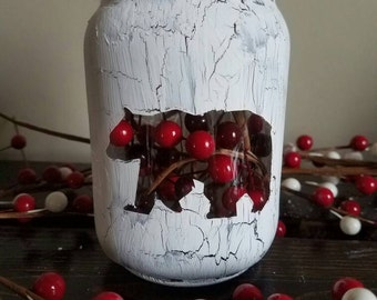 Christmas mason jar, Christmas Decor, Christmas Decorations, Mason Jar Decor, Holiday Mason jar, bear decor, lodge decor
