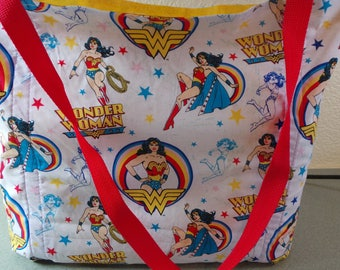 Wonder Woman, Reusable Farmers Market / Grocery / Gift / Shopping Bag / Tote