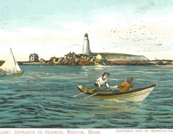 Boston Harbor Light Poster - framable art print - - recycled postcard - gift for graphic artists Sailors, Nautical types Cape Cod Bay