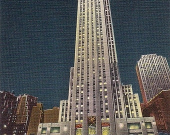 30 Rock at Night 1940s Rockefeller Center Tower- framable print -  New York at night,  retro many sizes availalbe ready to frame