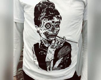 T-shirt skull Audrey Hepburn hand painting