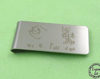 Custom Kids Drawing  Handwriting Laser Engrave Transfer from Paper to Steel Money Clip