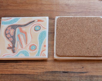 Ceramic Tile Coaster - Aboriginal Kangaroo