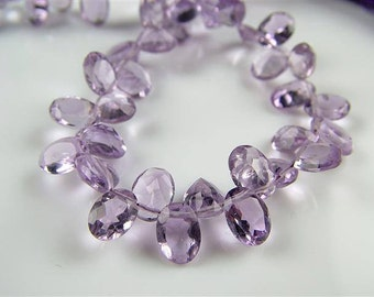Natural AA+ Lilac Amethyst Oval Cut Briolettes - Genuine Gemstones, 7-8mm, Faceted Gemstones