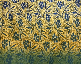 Ombré Print fabric, Shaded fabric, Floral Border, Indian Fabric, Floral Print,All over print,By the Yard, quilting cotton, yellow green navy