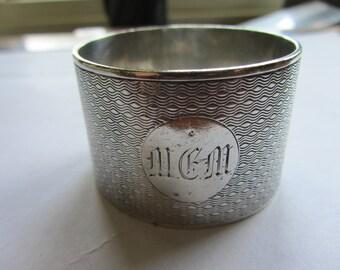 Vintage silver napkin ring Very heavy at 55.8g Sterling silver Art Deco, engine turned. English Hallmarks Sheffield 1936. Atkin Bros. MEM
