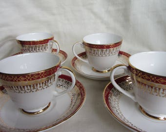 Vintage set of 4 demitasse cups and saucers. Royal Grafton fine bone china coffee cups. Maroon red/gilt 1950's/1960's retro Elegant, classic