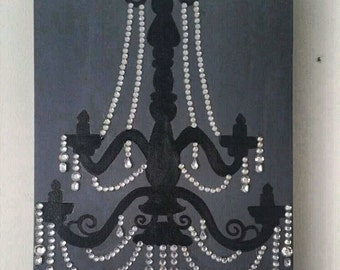 "Chandelier canvas 9""x12"" handmade painting"