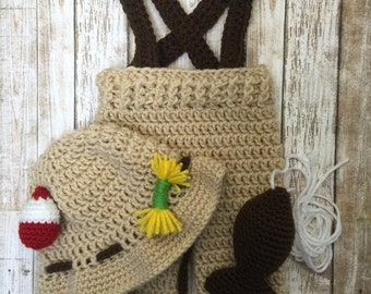 Newborn fishing outfit, newborn fisherman outfit, fisherman photo prop, baby fishing hat, infant fishing set, crochet fisherman outfit, fish