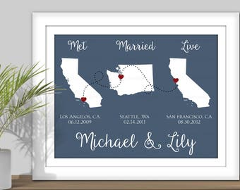 State Map Art, Met Married Live - PRINTABLE. Personalized Important Dates, Special dates, Custom State Map. All States & Countries available