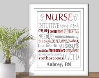 Nurse Subway Art - Choose your Colors. Printable Nurse Gift, Nurse Word Art, Personalized Gift for Nurse, RN gift, RN Subway Art