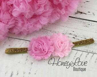 Light Pink flower headband double shabby flower head band hair bow silver or gold glitter skinny elastic, newborn infant toddler little girl