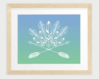 Tribal Design with feathers and arrows in blue and green, Boho style Printable Wall Art, Digital Print, INSTANT DOWNLOAD