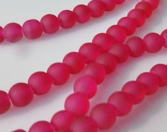 "Frosted Fuchsia 6mm Round Glass Beads (30"" Strand)"