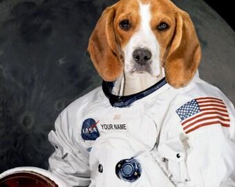 Pet portrait as NASA astronaut, Fun dog portrait, Custom portrait in space suit, Kid portrait Personalized gift for Space lover DIGITAL FILE