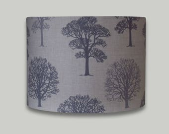 Grey Trees Drum Lampshade Lightshade Lamp shade 20cm 25cm 30cm 35m 40cm diameter range of depths in each size