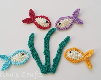 Crochet sea life set,Sea applique,Crochet sea motif,Embellishments,Sea decoration,Scrapbook making,Cards making,Baby blanket accessories