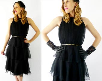 1980's Black Tiered Dress - Size Small