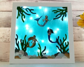 Mermaid Night Light, Childs Room Lighting, Mystical Lamp, Kids Lightbox, Mermaids Under the Sea Decor, Blue Lamp, Nautical Lights, Birthdays