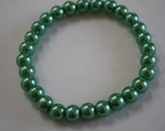 Green Pearl Bracelet, Pearl Bracelet, Green Beaded Bracelet, Green Bracelet