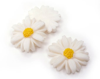 Vintage Daisy Flower Cabochon, aceteloid, 1960s, Japan - 20 mm - 12 pcs - C66-5